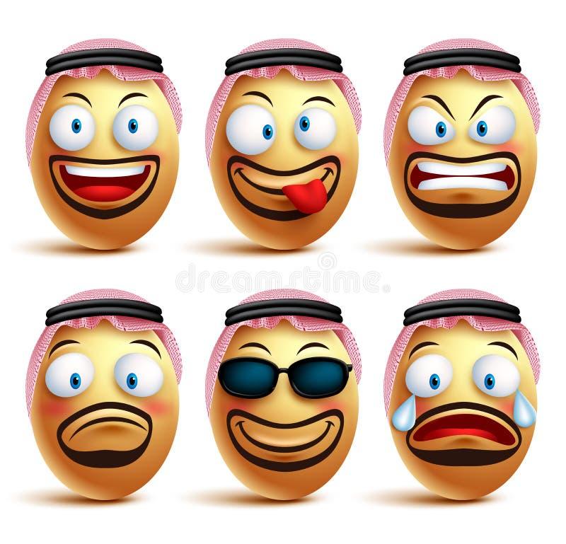 Caras de Arabia Saudita del huevo del hombre fijadas de llevar del vector agal y del vestido del ghutrah o de la cabeza ilustración del vector
