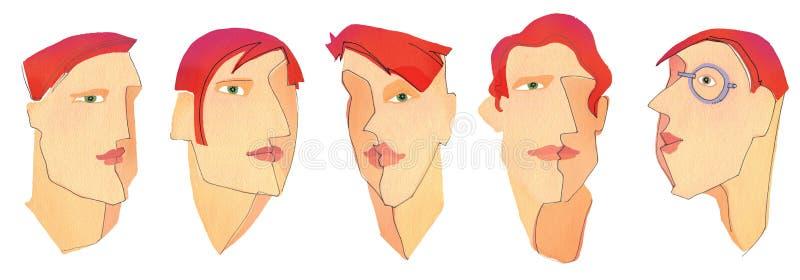 Caras de cinco hombres stock de ilustración