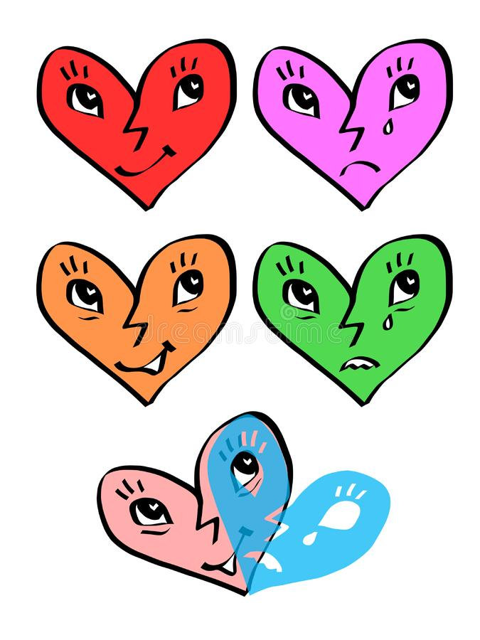 Caras de la emoción del corazón - máscaras de la alegría y de la tristeza