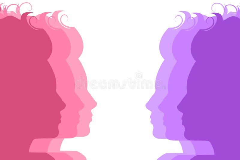 Caras de la hembra de la silueta ilustración del vector