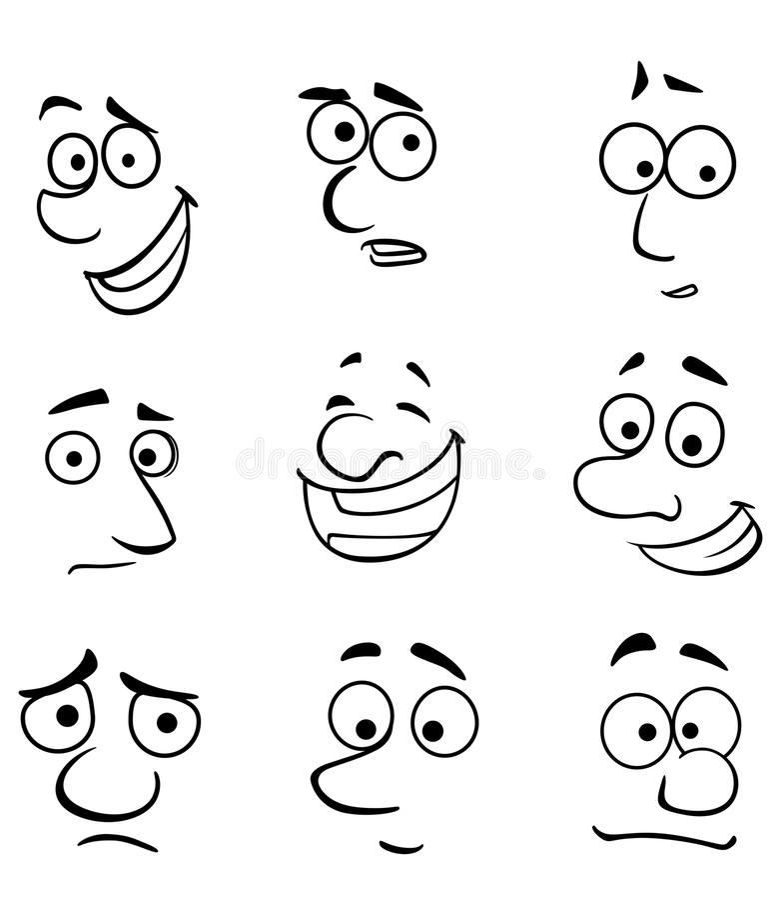 Caras de la historieta con emociones libre illustration