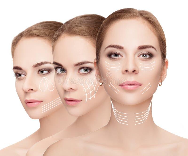 caras de la mujer con las flechas sobre el fondo blanco Estafa de la elevación de cara fotografía de archivo libre de regalías