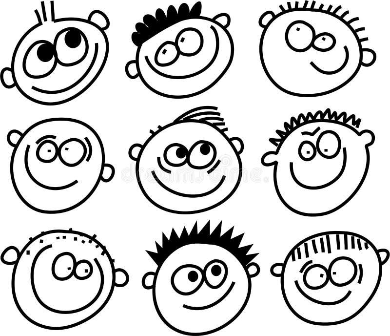 Caras de la sonrisa stock de ilustración