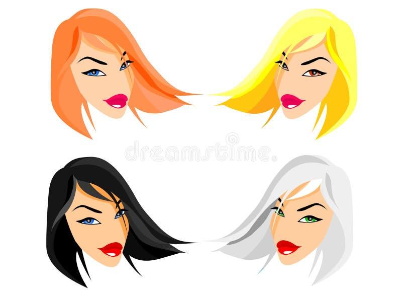 Caras de las muñecas de la manera ilustración del vector