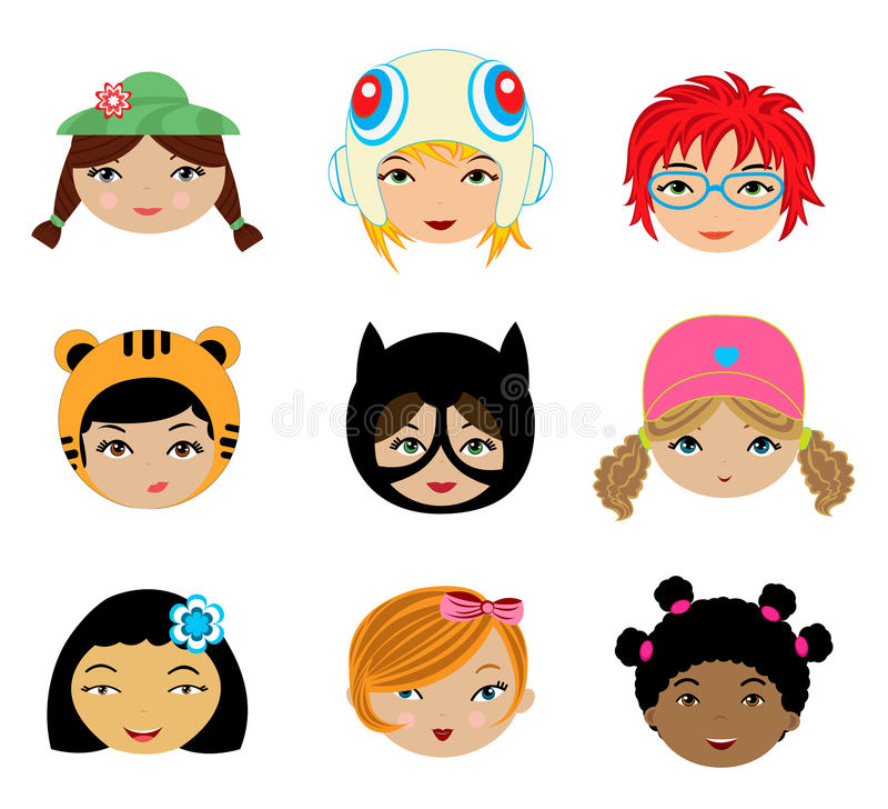 Caras de las muchachas fijadas ilustración del vector