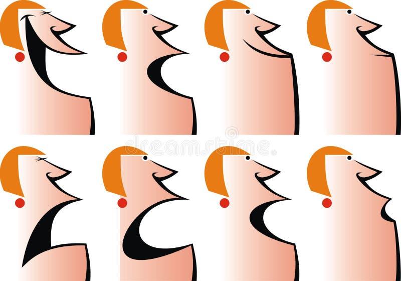 Caras de las mujeres, sonrisas ilustración del vector
