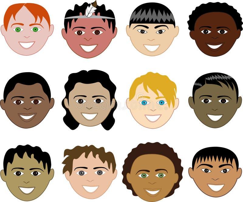 Caras de los muchachos stock de ilustración