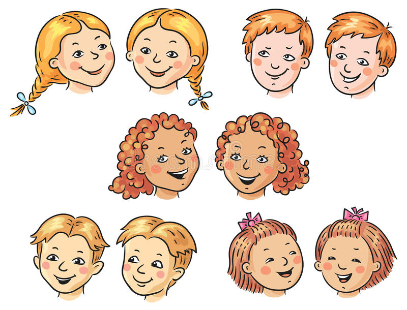 Caras de los niños ilustración del vector