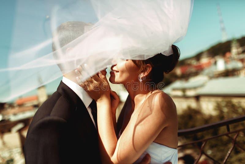Caras de los recienes casados mitad-cubiertas por un velo Casandose besos de los pares encendido fotografía de archivo libre de regalías