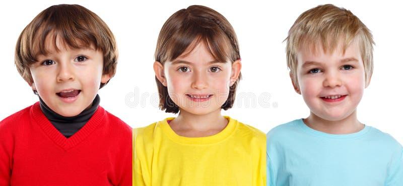 Caras de los retratos del muchacho de la niña de los niños de los niños aisladas en blanco foto de archivo