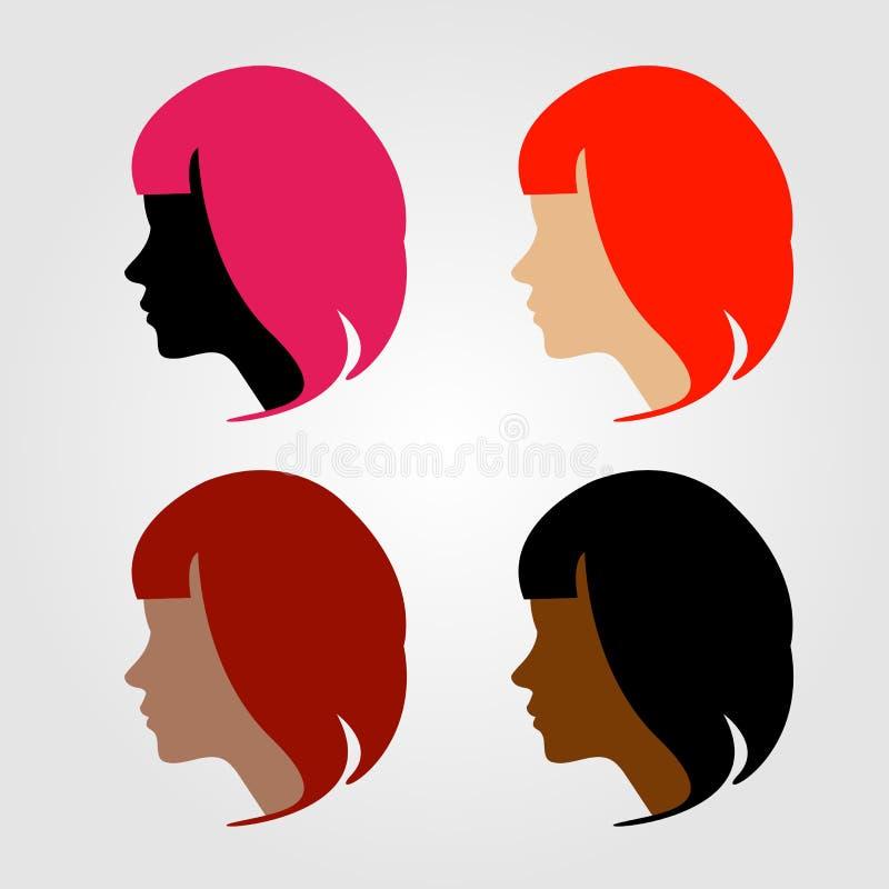 Caras de quatro mulheres multi-étnicas ilustração do vetor