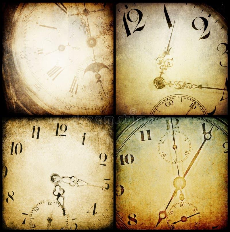 Caras de reloj antiguas del bolsillo. ilustración del vector