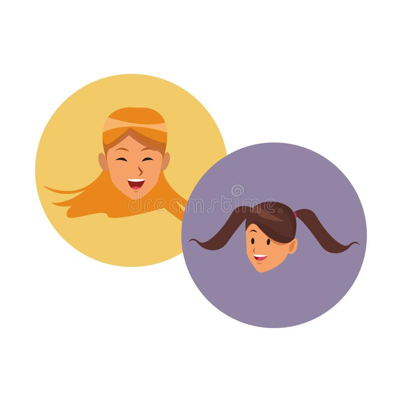 Caras de sorriso das mulheres ilustração do vetor