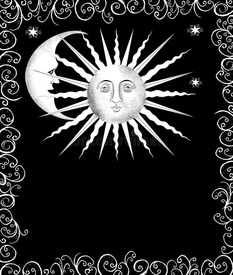 Caras decorativas de Sun e de lua ilustração royalty free