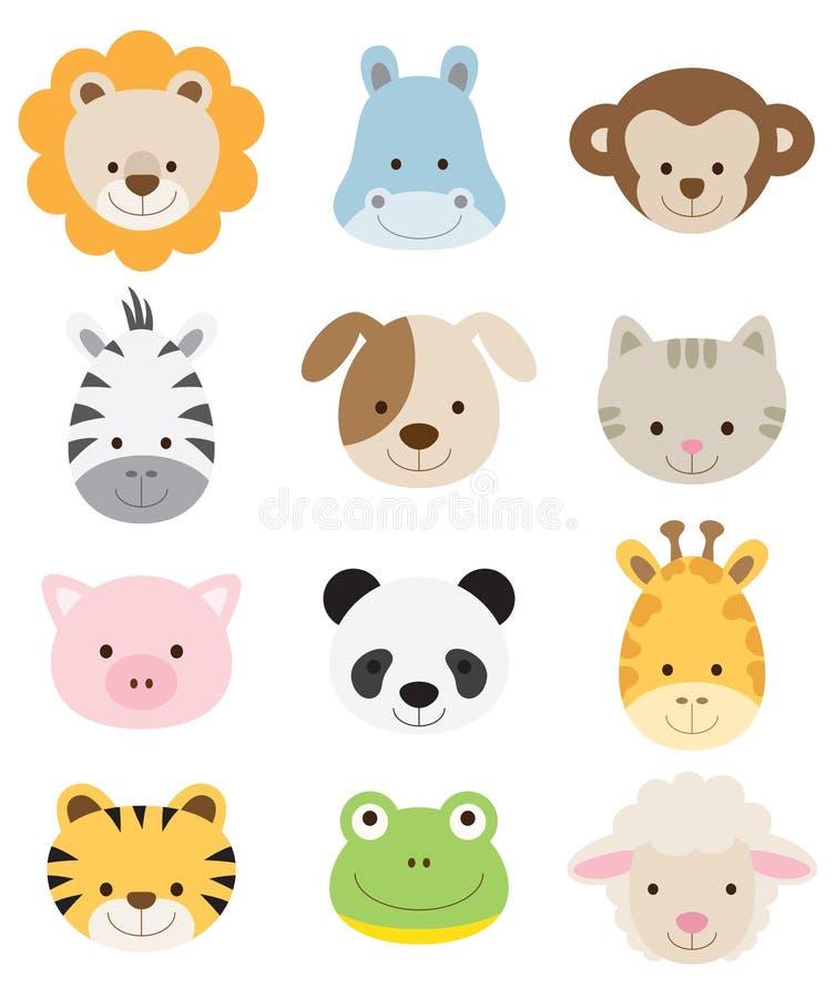 Caras del animal del bebé ilustración del vector