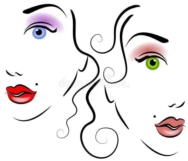 Caras del arte de clip de las mujeres 2 stock de ilustración