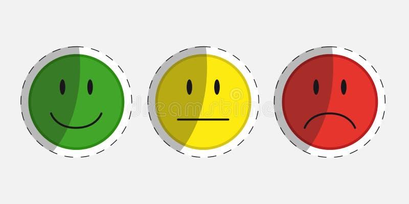 Caras del color para la reacción o el humor - 3 iconos del vector de la etiqueta engomada stock de ilustración