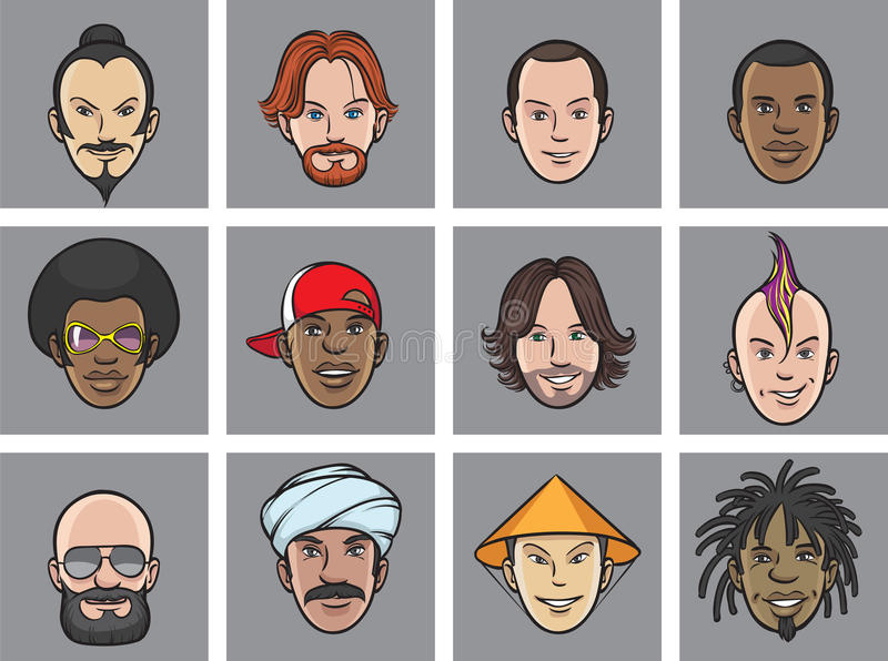 Caras del excéntrico del avatar de la historieta libre illustration