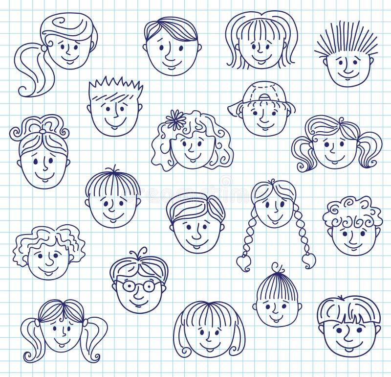 Caras del garabato de los niños libre illustration