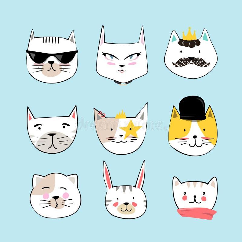 Caras del gato de la historieta fijadas Estilo dibujado mano ilustración del vector