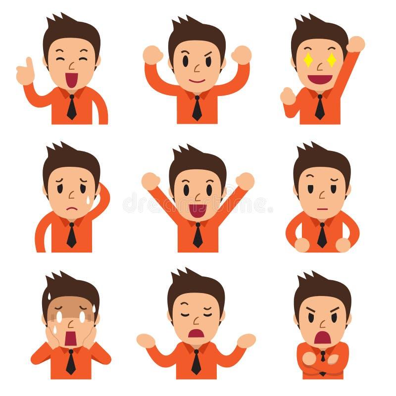 Caras del hombre de negocios de la historieta que muestran diversas emociones ilustración del vector