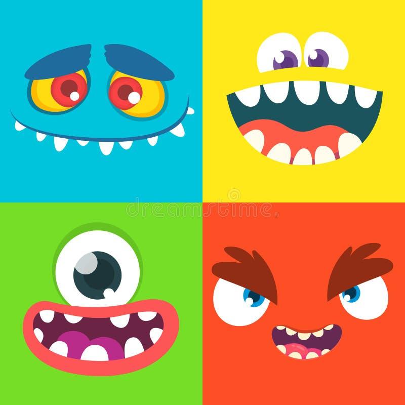 Caras del monstruo de la historieta Ejemplo del clip art del vector ilustración del vector