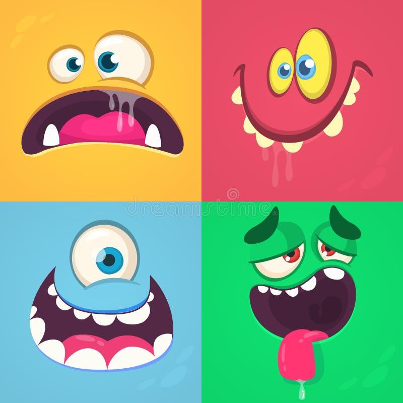 Caras del monstruo de la historieta fijadas Sistema del vector de cuatro caras del monstruo de Halloween ilustración del vector