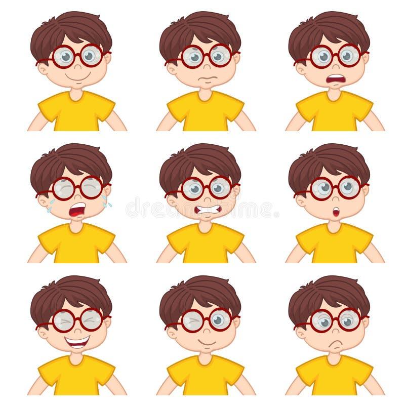 Caras del muchacho que muestran diversas emociones ilustración del vector