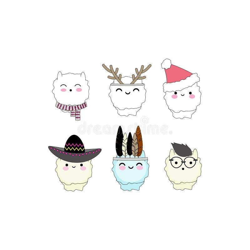 Caras del ` s de la alpaca de Kawaii fijadas libre illustration