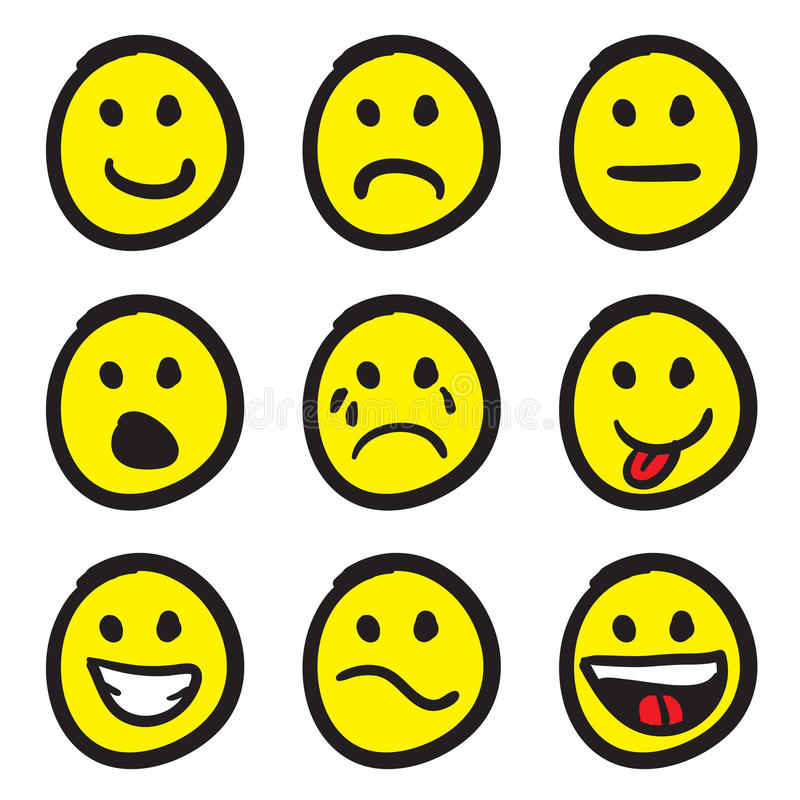 Caras del smiley de la historieta libre illustration