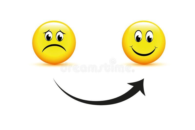 Caras del smiley tristes al icono feliz de la flecha ilustración del vector