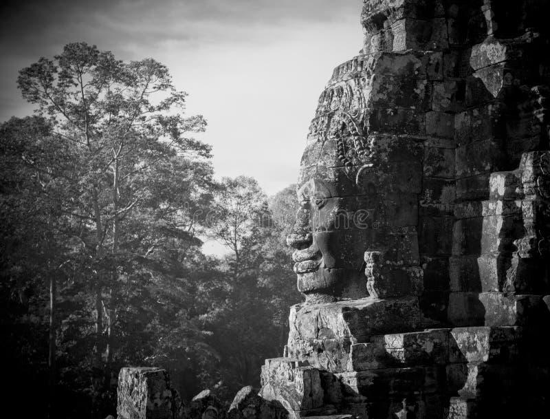 Caras del templo de Bayon, Angkor, Camboya fotografía de archivo