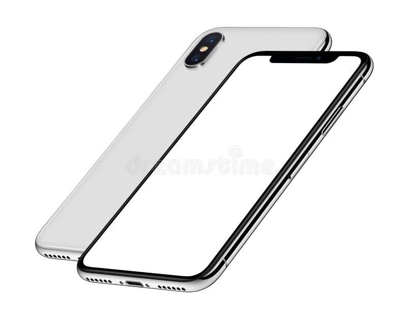 Caras delanteras y traseras una de la maqueta isométrica blanca de los smartphones detrás de la otra libre illustration
