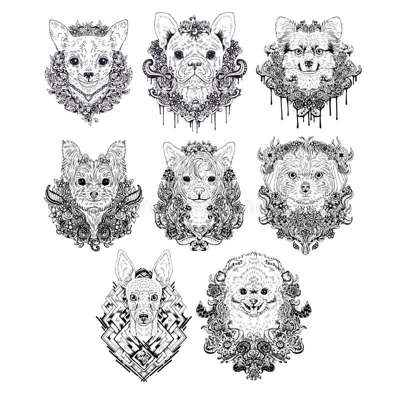 Caras dibujadas mano del perro libre illustration