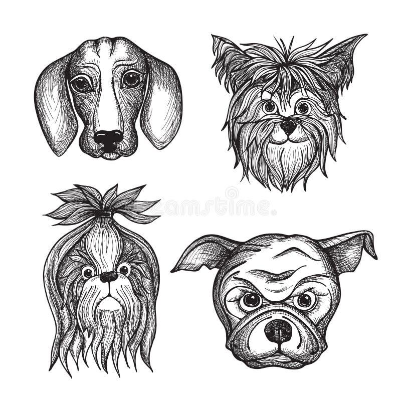 Caras dibujadas mano del perro fijadas ilustración del vector