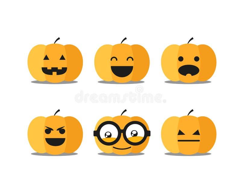 Caras diferentes da abóbora de Dia das Bruxas ilustração do vetor