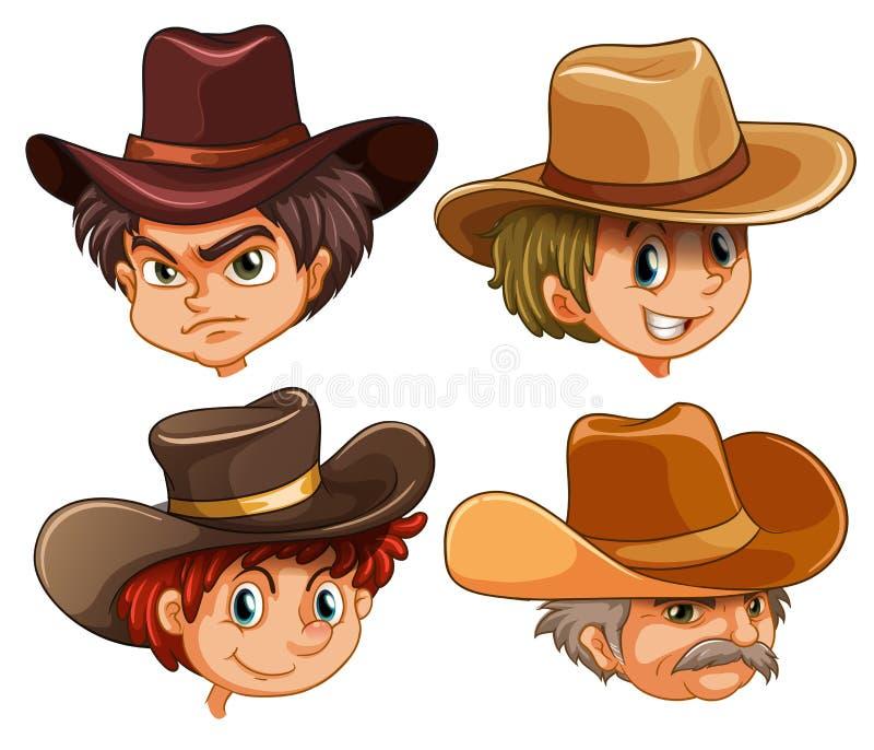 Caras diferentes de quatro vaqueiros ilustração stock