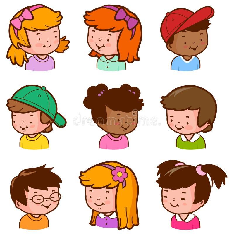 Caras diversas de los niños libre illustration
