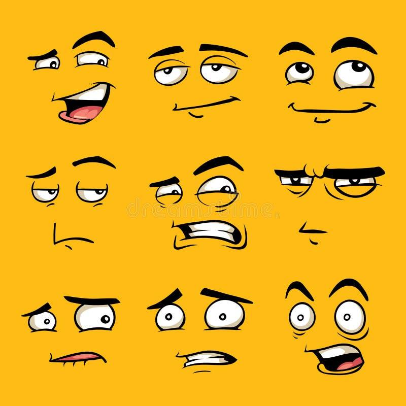 Caras divertidas de la historieta con emociones stock de ilustración