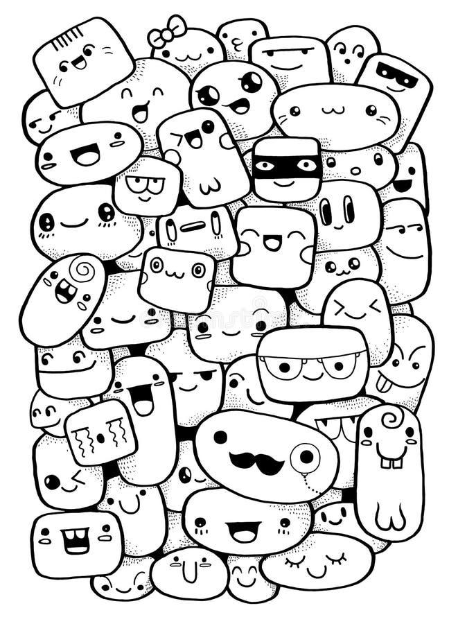 Caras divertidas de la historieta Ejemplo del clip art del vector libre illustration