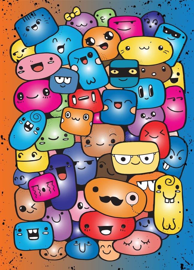 Caras divertidas de la historieta Ejemplo del clip art del vector stock de ilustración