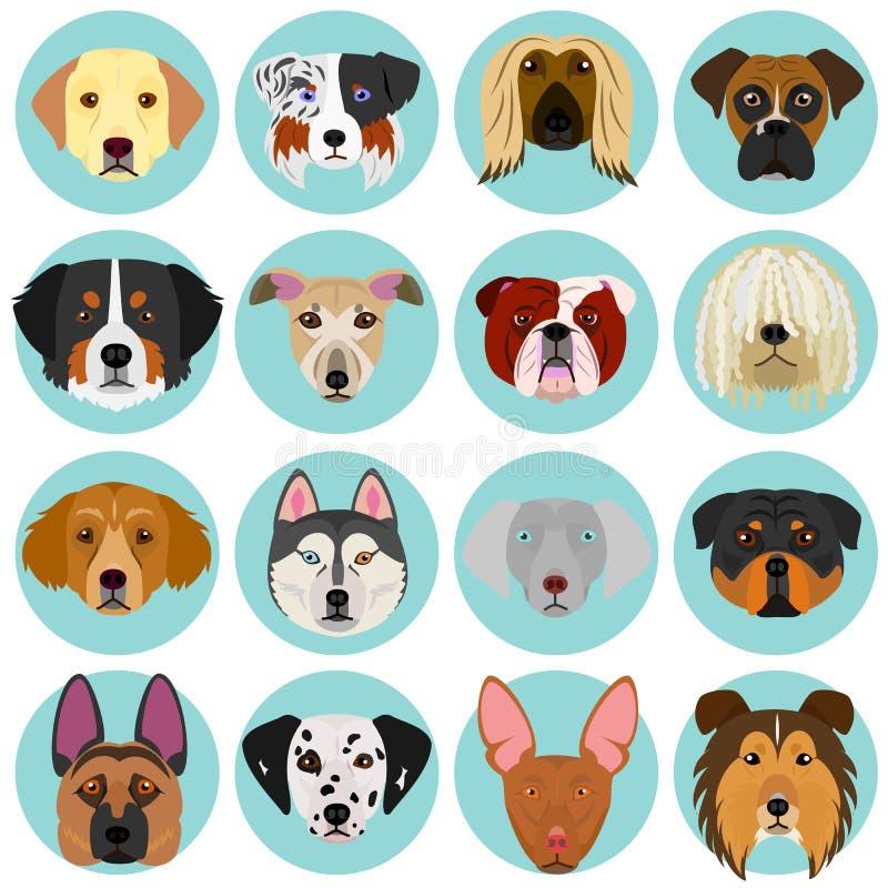 Caras do cão ajustadas com círculo ilustração do vetor