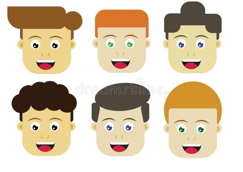 6 caras do ` dos meninos ilustração royalty free