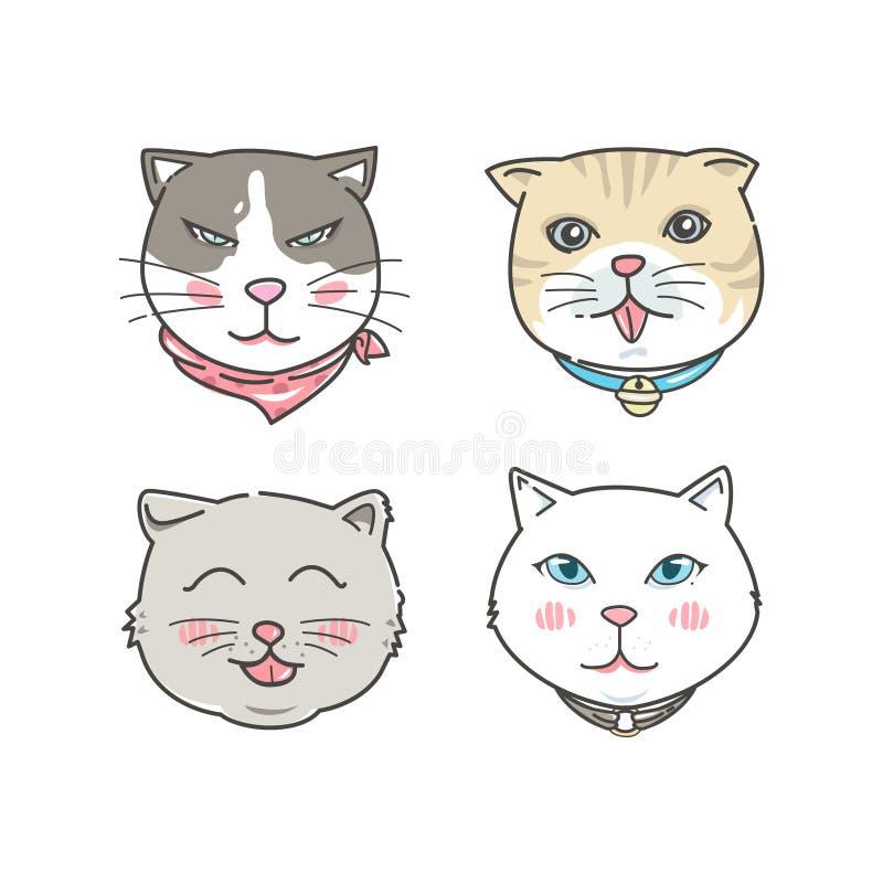 Caras do gato dos desenhos animados ajustadas Estilo tirado mão ilustração royalty free
