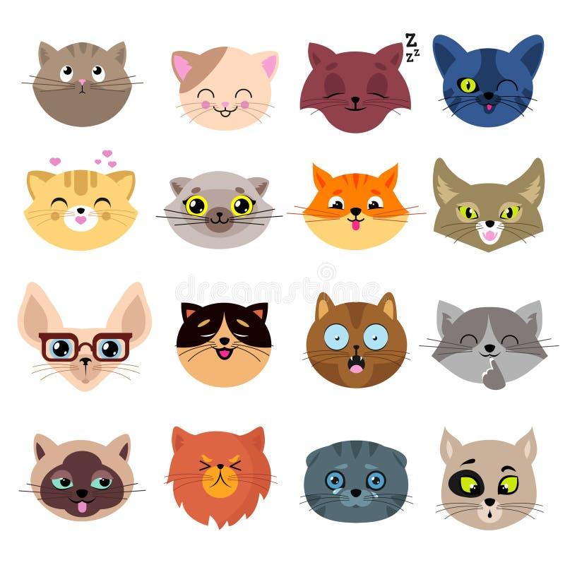 Caras do gato dos desenhos animados do divertimento Grupo bonito do vetor dos retratos do gatinho ilustração stock
