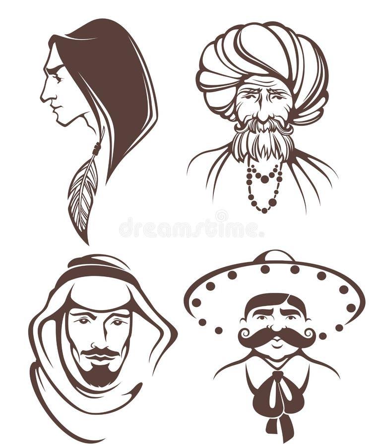 Caras do homem ilustração do vetor