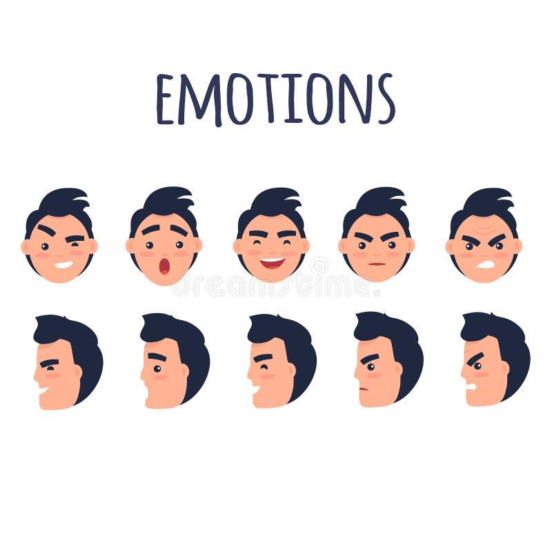 Caras do homem com grupo liso do vetor das emoções diferentes ilustração do vetor