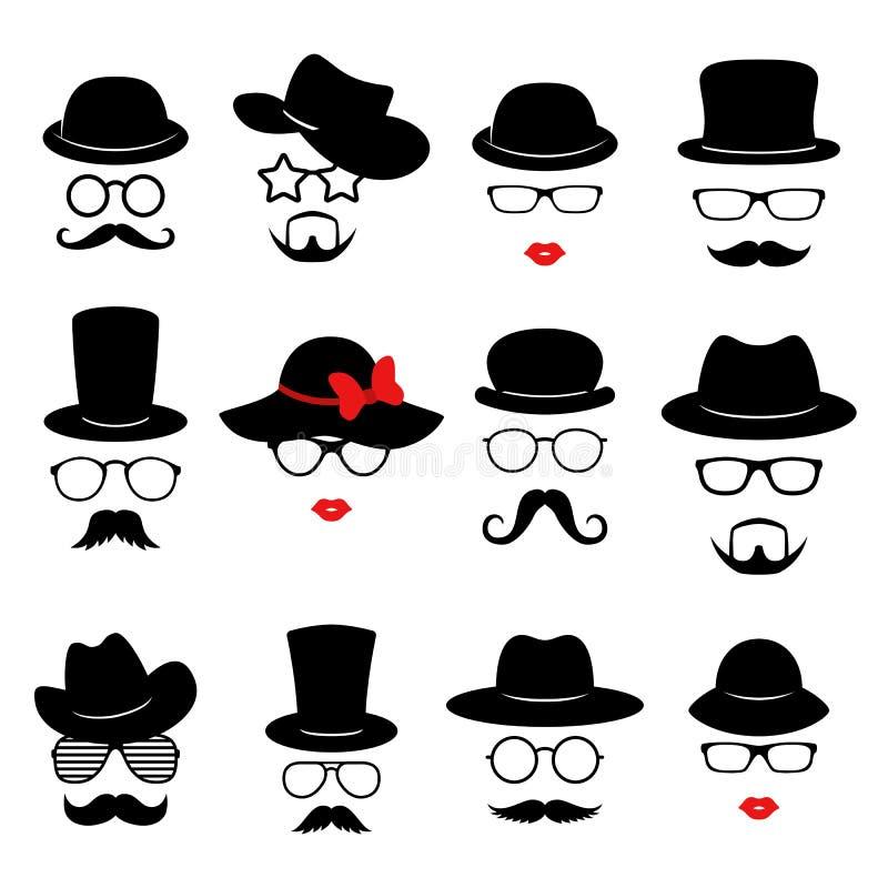 Caras do homem e da mulher A foto sustenta coleções O partido retro ajustou-se com vidros, bigode, barba, chapéus e bordos Vetor ilustração royalty free