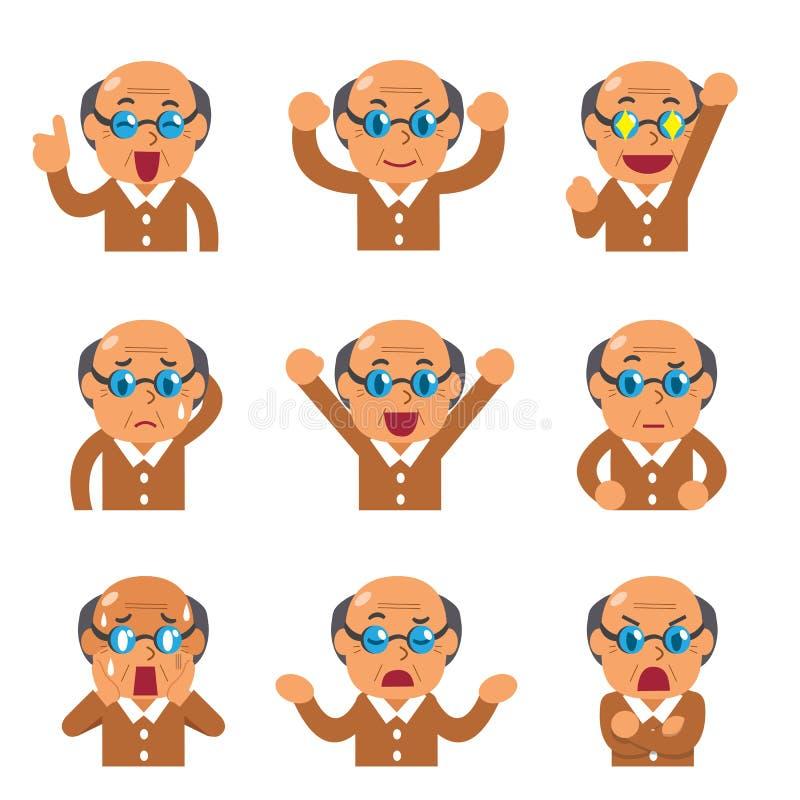 Caras do homem superior dos desenhos animados que mostram emoções diferentes ilustração do vetor