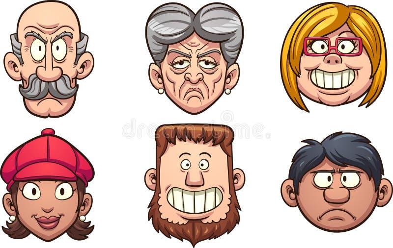 Caras do ` s dos povos ilustração royalty free